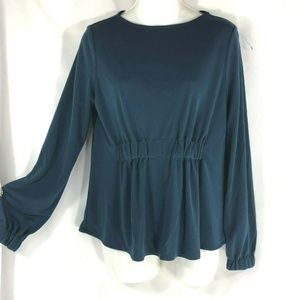 Ann Taylor Blue Garterized Long Sleeves Blouse XS